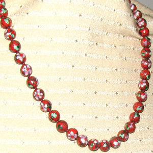 VINTAGE hand-knotted red Cloisonne beaded necklace